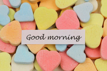 Good morning card with colorful sugar hearts