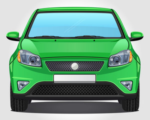 Vector green Car - Front view