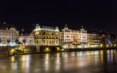 Buildings on the right bank of the Rhine in Basel, Switzerland