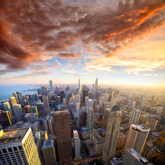 Printed roller blinds Chicago Aerial view of Chicago at sunset, IL, USA