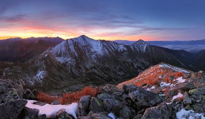 Wall Murals Night blue Tatra mountain at sunset