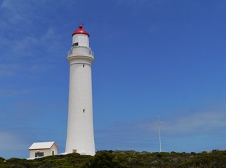 The white lighthouse of cape Nelson in Australia
