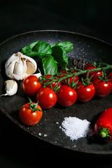 Ingredients for italian souce on frying pan