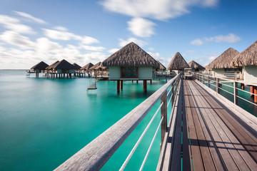 Overwater bungalows in french polynesia. Bora Bora