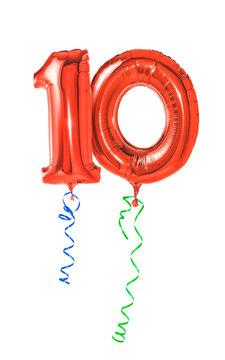 Rote Luftballons mit Geschenkband - Nummer 10