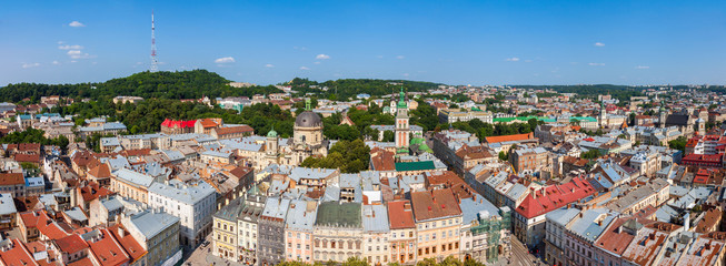 Top view of the Lvov city from height. Ukraine.