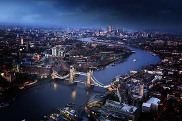 Photo sur Plexiglas Londres London aerial view with Tower Bridge, UK