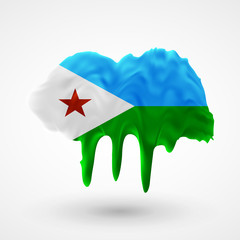Flag of Djibouti painted colors