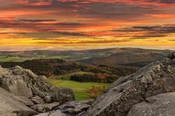 Sonnenuntergang in der Rhön Mittlegebirge