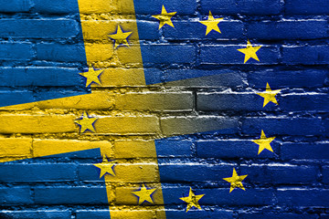 Sweden and European Union Flag painted on brick wall