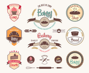 Set of vintage retro bakery logo, badges and labels