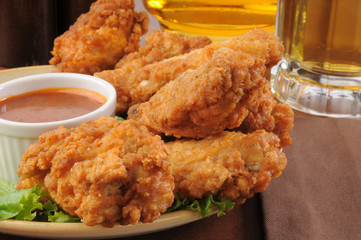 Chicken wings and beer