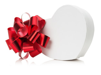 heart shaped gift box with red bow
