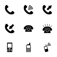 Vector black telephone icon set
