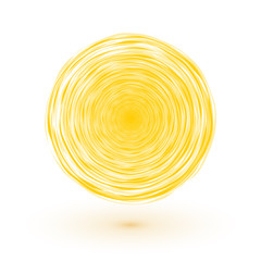 sun symbol yellow circle composed of thin lines