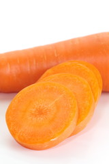 Fresh and sweet carrot isolated on white background