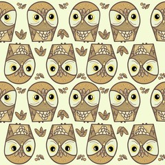 Wall Mural - trendy owl pattern print