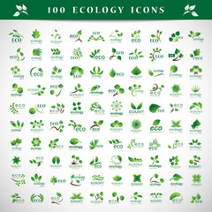 Ecology Icons Set - Isolated On Gray Background - Vector Illustration, Graphic Design Editable For Your Design