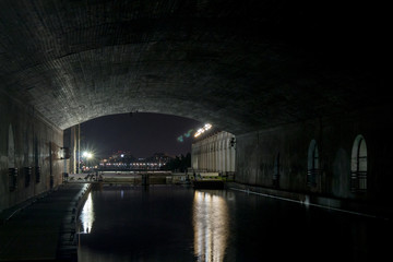Locks Under Bridge at Night