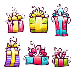 Vector set of brightly gift cartoon box