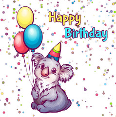 Vector Illustration of Happy birthday greetings with koala