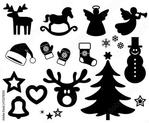 icon set weihnachten schwarz vektor freigestellt. Black Bedroom Furniture Sets. Home Design Ideas