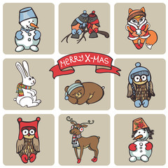 Christmas funny animals icons