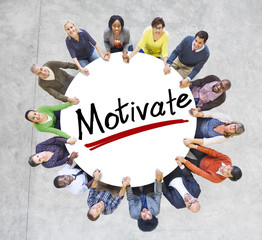 People Holding Hands Around Letter Motivate