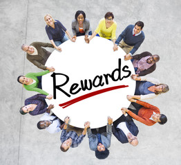 Aerial View of People and Rewards Concepts