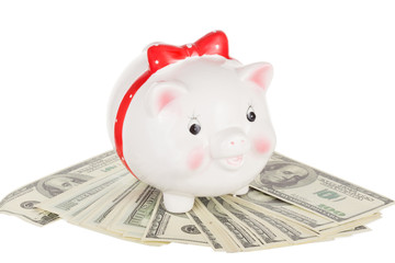 Ceramic white pig moneybox  stand on cash dollars