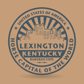 Grunge rubber stamp with name of Lexington, Kentucky
