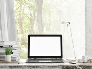 Laptop in room, outdoor view