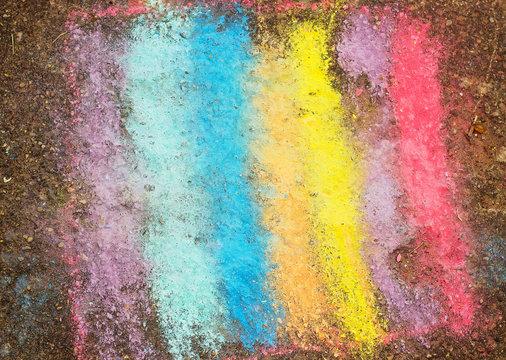 Drawing of asphalt colorful rainbow