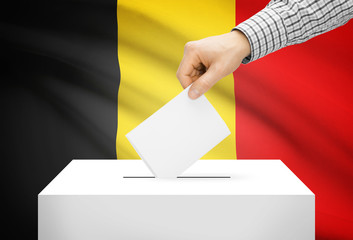 Ballot box with national flag on background - Belgium