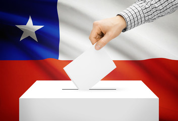 Ballot box with national flag on background - Chile