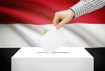 Ballot box with national flag on background - Egypt