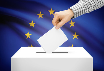 Ballot box with national flag on background - European Union