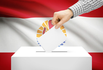 Ballot box with national flag on background - French Polynesia
