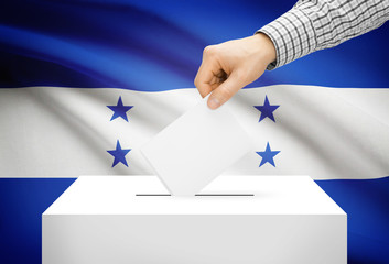 Ballot box with national flag on background - Honduras