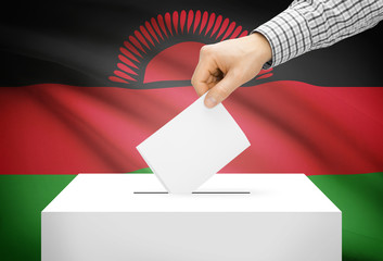 Ballot box with national flag on background - Malawi