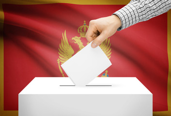 Ballot box with national flag on background - Montenegro