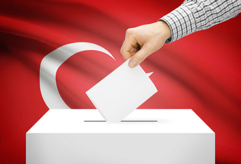Ballot box with national flag on background - Turkey