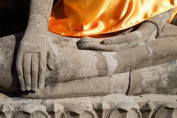 Hand of Ruin image of Buddha in Ayutthaya, Thailand