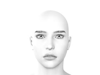 Junge schöne Frau, kahl, Glatze