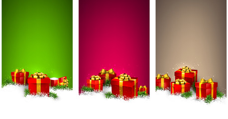 Christmas stripe banners with gift boxes.