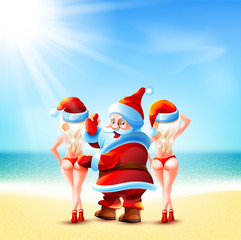 Santa Claus and two girls
