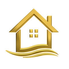 Golden house wave  real estate image.