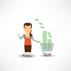 salesman carries the cart with money