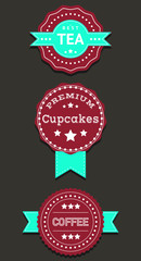 Set labels and badges with Coffee, Tea, Cupcakes