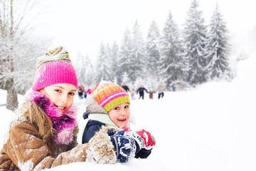 Children having fun in the snow